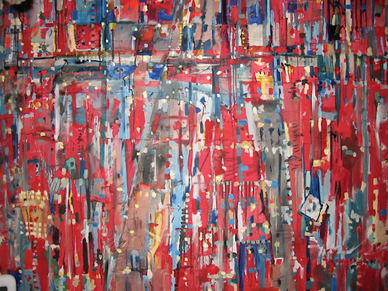 An abstract large oil painting with points and a red background