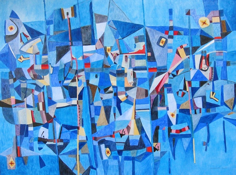 A large blue abstract art painting