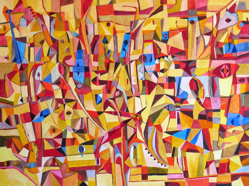Large abstract painting with many details and has dominant yellow