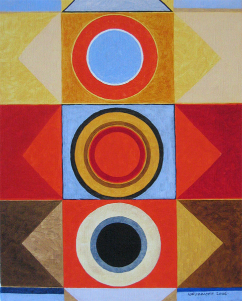Geometric abstract art with circles, squares and triangles