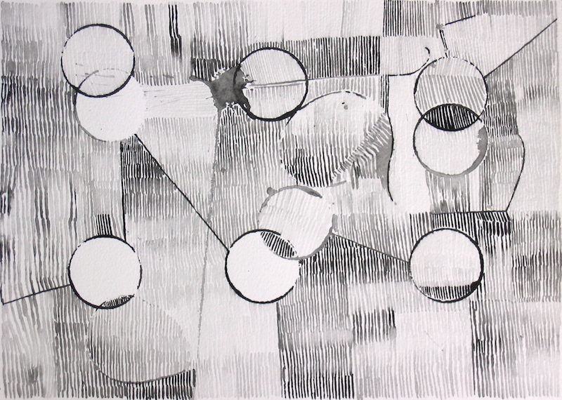 Abstract drawing in black and white with lines and circles
