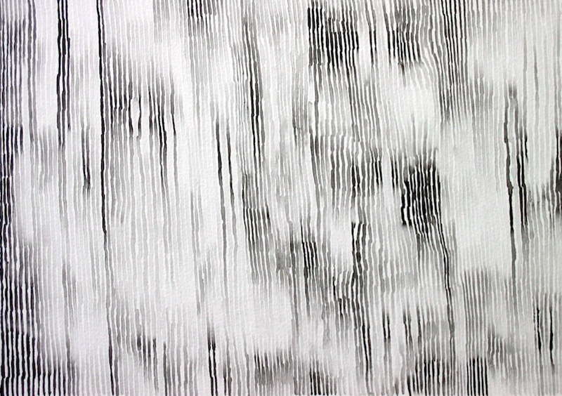 Abstract black and white drawing with gradient vertical stripes